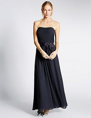 Detachable Straps Pleated Maxi Dress, NAVY, catlanding