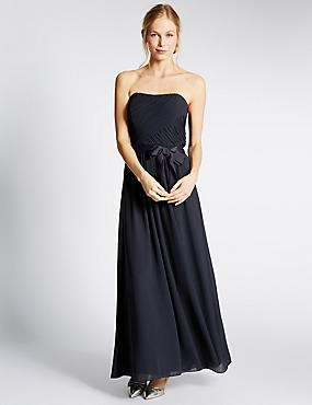 Detachable Straps Pleated Maxi Dress, NAVY, catlanding