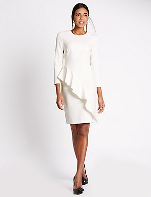 Ruffle Long Sleeve Bodycon Dress, CREAM, catlanding