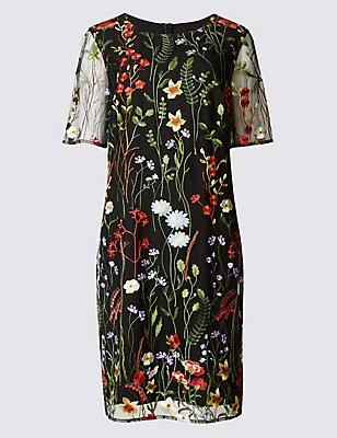 Embroidered Floral Half Sleeve Shift Dress, BLACK MIX, catlanding