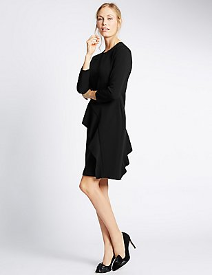 Ruffle 3/4 Sleeve Bodycon Dress, BLACK, catlanding