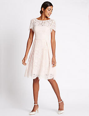Cotton Blend Lace Swing Dress, BLUSH PINK, catlanding