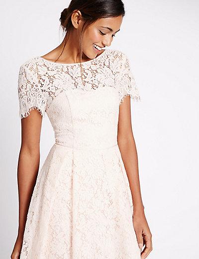 Cotton Blend Lace Skater Midi Dress   M&S