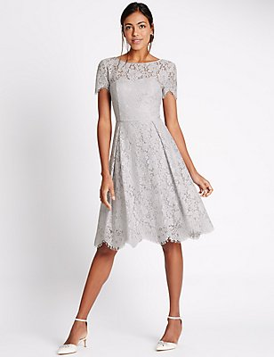 Cotton Blend Lace Swing Dress, SILVER GREY, catlanding