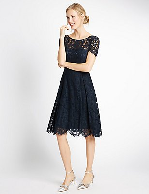 Cotton Blend Lace Swing Dress, NAVY, catlanding