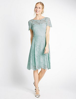 Cotton Blend Lace Swing Dress, DUCK EGG, catlanding