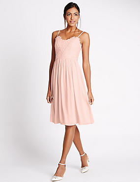 Floral Lace Ladder Trim Skater Midi Dress, BLUSH PINK, catlanding