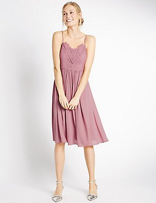 Floral Lace Gathered Hem Slip Midi Dress, ANTIQUE ROSE, catlanding