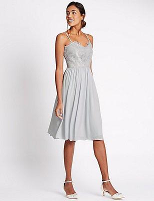 Floral Lace Front Frill Hem Skater Dress, SILVER GREY, catlanding