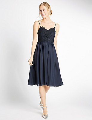 Floral Lace Gathered Hem Slip Midi Dress, NAVY, catlanding
