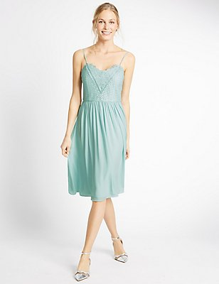Floral Lace Gathered Hem Skater Midi Dress, DUCK EGG, catlanding