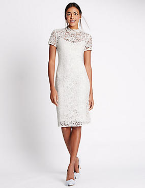 Floral Lace Short Sleeve Dress, IVORY, catlanding