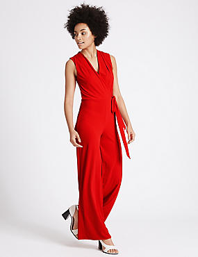 Wide Leg Tie Detail Jumpsuit, RED, catlanding