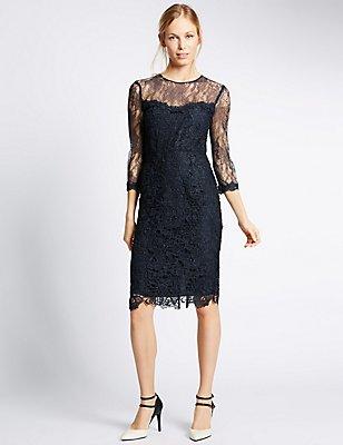 Lace 3/4 Sleeve Bodycon Dress, NAVY, catlanding