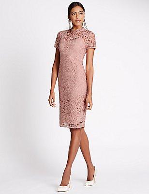 Floral Lace Short Sleeve Shift Dress, BLUSH, catlanding