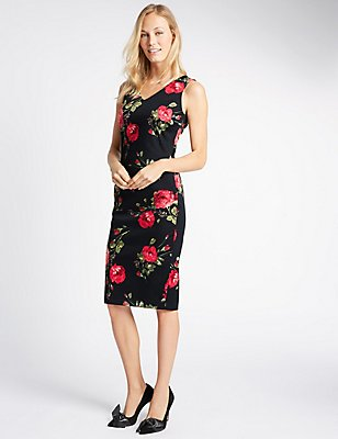 Floral Print Sleeveless Bodycon Dress, RED MIX, catlanding
