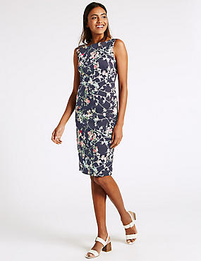Cotton Rich Floral Print Bodycon Dress, NAVY MIX, catlanding