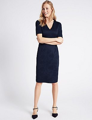 Embossed Textured Bodycon Dress, NAVY, catlanding