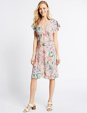 Floral Print Bodycon Dress, BLUSH, catlanding