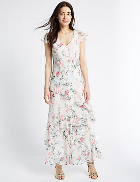 Floral Print Ruffle Detail Maxi Dress, BLUSH PINK, catlanding
