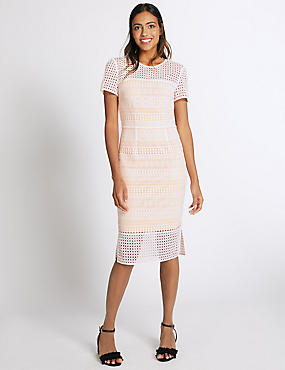 Lace Double Layered Shift Dress, WHITE MIX, catlanding