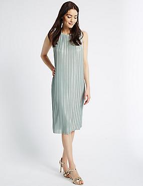 Rechte mouwloze jurk met metallic effect en structuurstof, METALLIC, catlanding