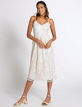 Floral Print Embellished Slip Dress, IVORY MIX, catlanding