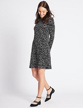 Spotted Long Sleeve Swing Midi Dress, BLACK MIX, catlanding