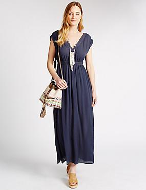Gehaakte maxi-jurk met V-hals, MARINE, catlanding