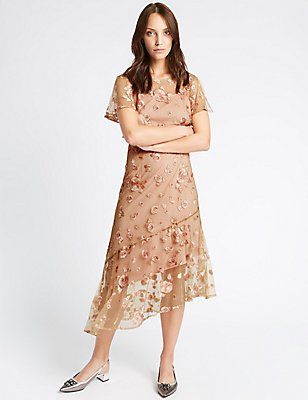 Embroidered Short Sleeve Midi Dress, PINK MIX, catlanding