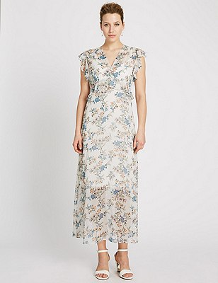 Floral Maxi Dress with Camisole, IVORY MIX, catlanding