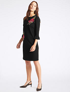 Embroidered Applique Tunic Dress , BLACK, catlanding