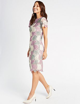 Swirl Lace Short Sleeve Bodycon Midi Dress, PINK MIX, catlanding