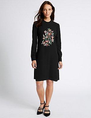 Embroidered Long Sleeve Swing Dress , BLACK MIX, catlanding