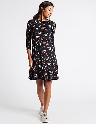 Floral Print Long Sleeve Swing Dress, BLUE MIX, catlanding