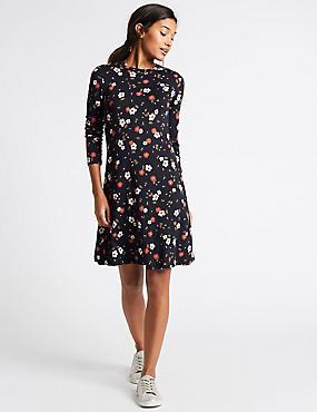 Floral Print Long Sleeve Swing Dress, BLUE MIX, catlanding