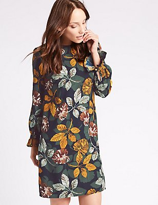 Leaf Print Flared Cuff Tunic Dress, NAVY MIX, catlanding