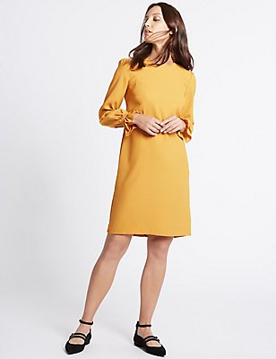 Frill Cuff Tunic Dress, OCHRE, catlanding