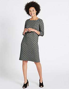 Cotton Rich Jacquard Print Tunic Midi Dress, GREEN MIX, catlanding