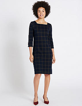 Cotton Rich Checked Cuff Button Tunic Dress, BLUE MIX, catlanding