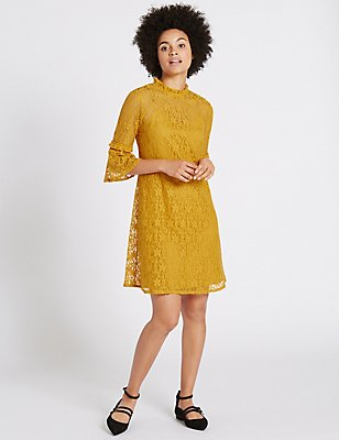 Cotton Rich Floral Lace Swing Dress, OCHRE, catlanding