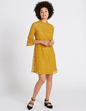Cotton Rich Floral Lace Swing Dress, OCHRE, catlanding
