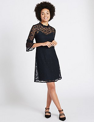 Cotton Rich Lace 3/4 Sleeve Swing Dress, NAVY, catlanding