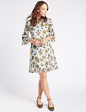 Cotton Rich Floral Lace Swing Dress, IVORY MIX, catlanding