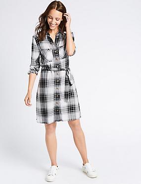 Checked Long Sleeve Shirt Dress with Belt, BLACK MIX, catlanding