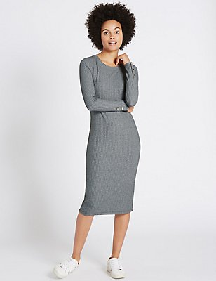 Ribbed Cosy Tube Long Sleeve Midi Dress, CHARCOAL, catlanding