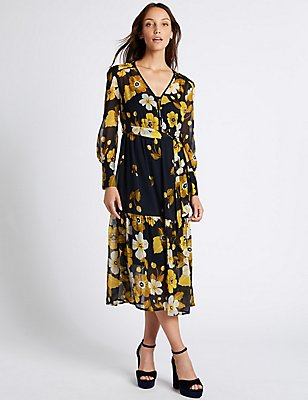 Floral Print Long Sleeve Midi Dress, BLUE MIX, catlanding