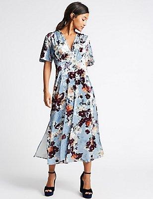 Floral Print Velvet Short Sleeve Maxi Dress, BLUE MIX, catlanding