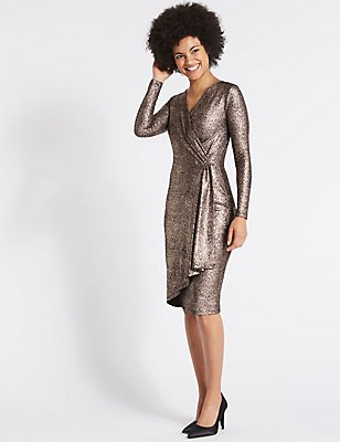 Crackle Drape Long Sleeve Wrap Midi Dress, BRONZE, catlanding