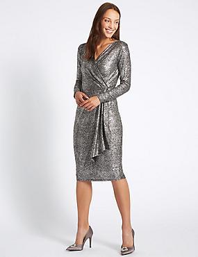 Crackle Drape Long Sleeve Wrap Midi Dress, SILVER, catlanding
